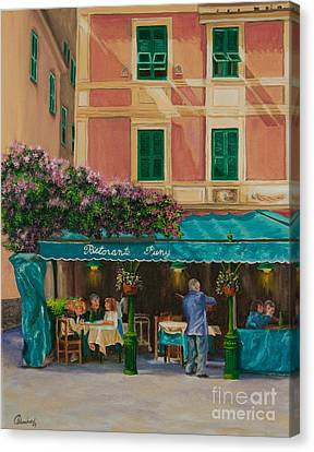 Musicians' Stroll In Portofino Canvas Print by Charlotte Blanchard