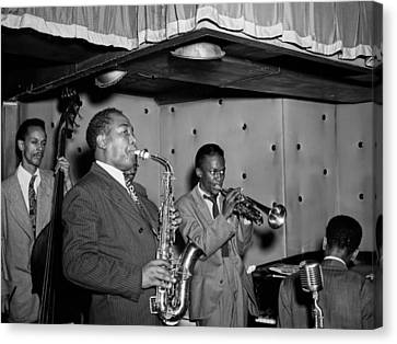 Music's Golden Era - Charlie Parker And Miles Davis 1947 Canvas Print by Mountain Dreams