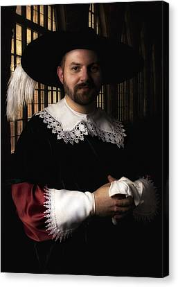 Musketeer In The Old Castle Hall Canvas Print
