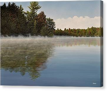 Muskoka Morning Mist Canvas Print by Kenneth M  Kirsch