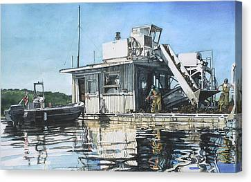 Mussel Harvest On Penn Cove Canvas Print by Perry Woodfin