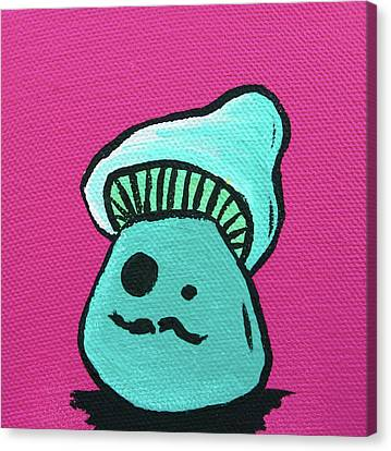 Mustache Zombie Mushroom Canvas Print