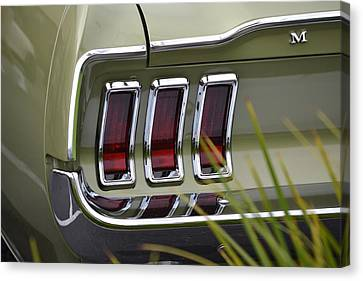 Mustang Fastback In Green Canvas Print by Dean Ferreira