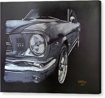 Canvas Print featuring the painting Mustang Front by Richard Le Page