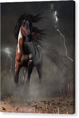 Mustang Horse In A Storm Canvas Print by Daniel Eskridge