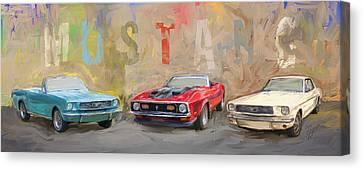 Mustang Panorama Painting Canvas Print