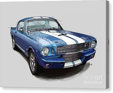 Mustang Shelby 1965 Handmade Drawing For Man Cave Canvas Print