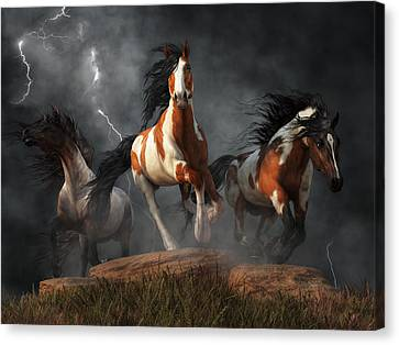 Canvas Print featuring the digital art Mustangs Of The Storm by Daniel Eskridge