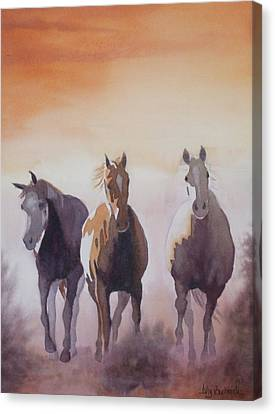 Mustangs Out Of The Fire Canvas Print by Ally Benbrook