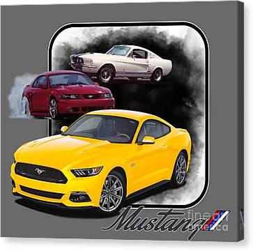 Yellow Cobra Canvas Print - Mustangs Through Time by Paul Kuras
