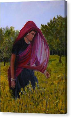 Mustard Fields Of India Canvas Print by Betty Pimm