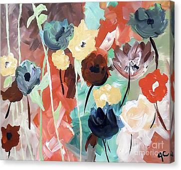 Muted Floral Abstraction Canvas Print by Jilian Cramb - AMothersFineArt