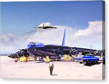 Canvas Print featuring the digital art My Baby B-52 by Peter Chilelli