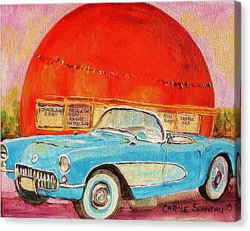My Blue Corvette At The Orange Julep Canvas Print by Carole Spandau
