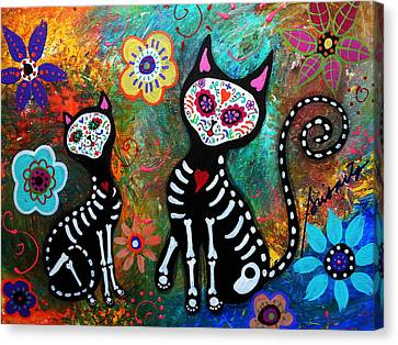 My Cats Dia De  Los Muertos Canvas Print by Pristine Cartera Turkus