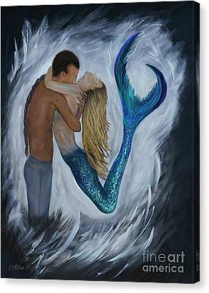 Canvas Print featuring the painting My Dream Mermaid by Leslie Allen