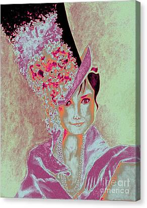 My Fair Audrey -- In Raspberry And Orange Canvas Print