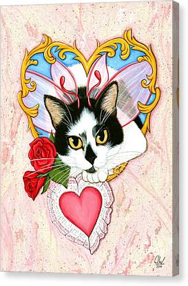 My Feline Valentine Tuxedo Cat Canvas Print