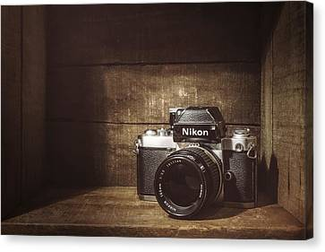 Wooden Box Canvas Print - My First Nikon Camera by Scott Norris