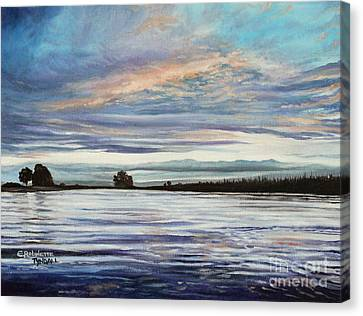 Canvas Print featuring the painting My First Sunset by Elizabeth Robinette Tyndall