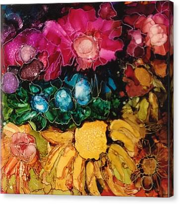 Canvas Print featuring the painting My Flower Garden by Suzanne Canner