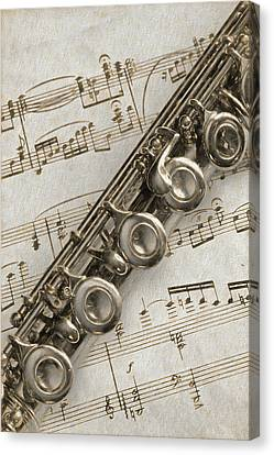 My Flute Photo Sketch Canvas Print