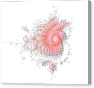 Canvas Print featuring the digital art My Fractal Heart by Fran Riley