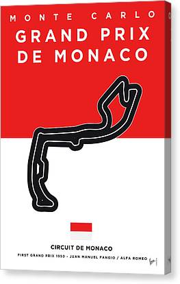 Edition Canvas Print - My Grand Prix De Monaco Minimal Poster by Chungkong Art