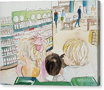My Grandkids At The Grocery Store Canvas Print