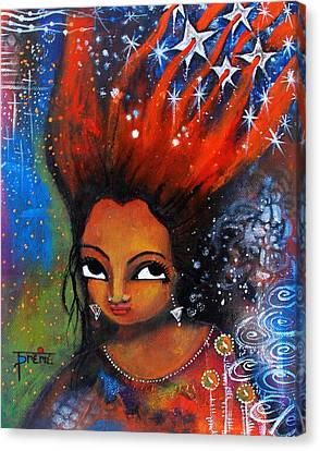 Canvas Print featuring the mixed media My Hair Is Being Pulled By The Stars  by Prerna Poojara