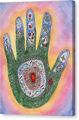 My Handprint On The World Canvas Print by Melanie Rochat
