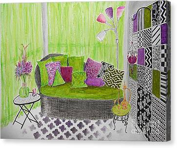 My Happy Place -- Drawing Of Colorful Moroccan Porch Canvas Print