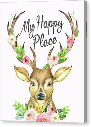Mountain Cabin Canvas Print - My Happy Place Woodland Boho Deer by Pink Forest Cafe