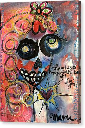 My Heart Is So Happy To Know You Canvas Print by Laurie Maves ART
