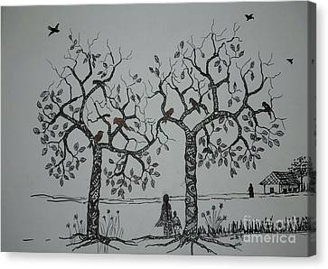 My House Is On That Side Canvas Print by Usha Rai