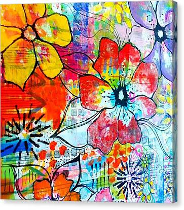 Floral Canvas Print - My Kitchen Wall At The Moment..have Not by Robin Mead