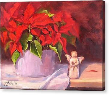 Poinsettias Canvas Print - My Little Angel by Laura Lee Zanghetti