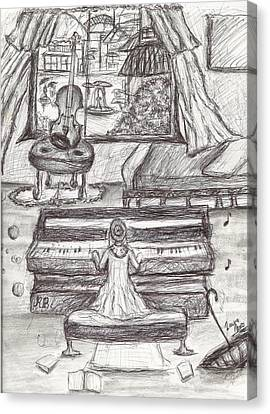 My Love For Rain- Black White Girl Playing Piano Pen Drawing Canvas Print by Laura Haro