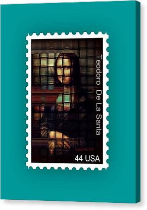 My Mona Lisa Stamp Series Canvas Print by Teodoro De La Santa