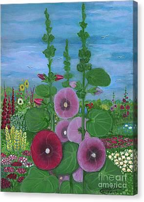 Polish Folk Art Canvas Print - My Mother's Garden Hollyhocks by Anna Folkartanna Maciejewska-Dyba