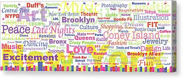 My New York In Words Canvas Print by Kristi L Randall