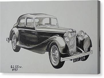 Canvas Print featuring the drawing My Old Jag. by Mike Jeffries