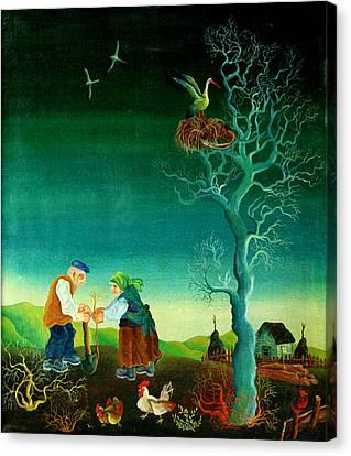 My Old Village  Canvas Print by Leon Zernitsky