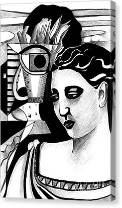 My Outing With A Young Woman By Picasso Canvas Print by Helena Tiainen