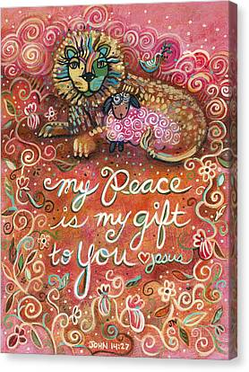 Communion Canvas Print - My Peace Is My Gift by Jen Norton