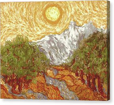 Titanium White Canvas Print - My Rendition Of Van Gogh's 'yellow Sky And Olive Trees' by Marci Potts