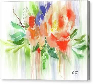 Canvas Print featuring the painting My Roses Gently Weep by Colleen Taylor
