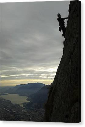 My Sister Elena Climbing The Via Cassin On Medale Lecco Italy Canvas Print by Giuseppe Epifani