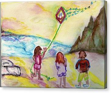 Canvas Print featuring the painting My Sister My Brother My Kite by Helena Bebirian