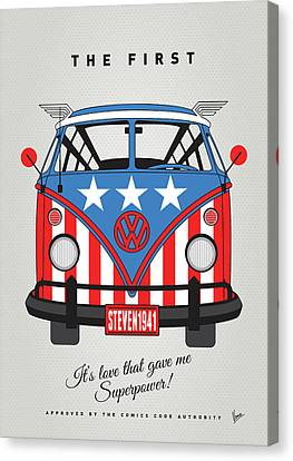 My Superhero-vw-t1-cap America Canvas Print by Chungkong Art